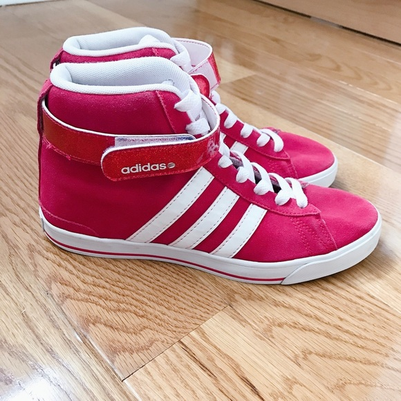 Pink and White Adidas High Top Sneakers